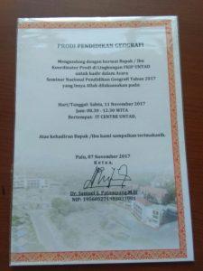 Undangan Seminar NAsional Prodi. Pend. Geografi FKIP Universitas Tadulako